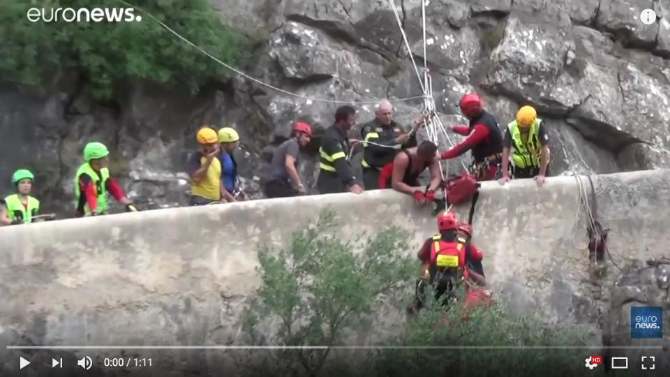 Rescue teams are extricating victims from the flash floods in the Pollino National Park in Southern Italy. Screen dump from Euro News video.