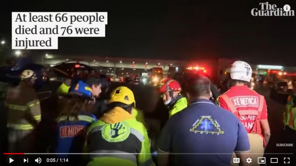 Rescue personelle working to save victims during the Mexico pipe line explosion. Photo: Screenshot from the Guardian´s video.